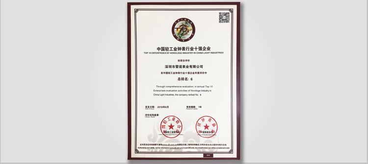 中国轻工业钟表行业十强企业